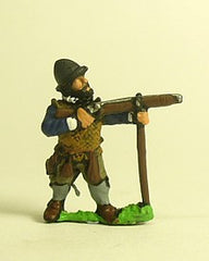 MER102 Spanish & English 1559-1605AD: Musketeer in Cabasset & padded jacket, firing