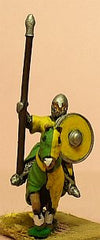 MID93 Spanish: Mounted Knight, 1050-1150AD with Round Shield & Barded Horse