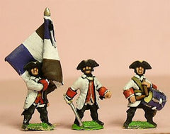 SYF3 Seven Years War French: Command: Fusilier Officer, Drummer & Standard Bearer with cast metal flag