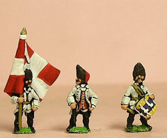 SYF6 Seven Years War French: Command: Grenadier Royaux Officer, Standard Bearer & Drummer