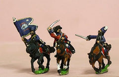 SYF9 Seven Years War French: Command: Hussar Officer, Standard Bearer & Trumpeter in Mirliton