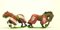 H60 Horses: Medieval, Barded: Galloping, head variants