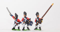 INB8 AWI British: Command: Grenadier Officer, Standard Bearer & Drummer