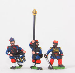 KO58 French: Grenadiers of the Guard: Command: Officer, Standard bearer and Drummer in Bonnet de Police