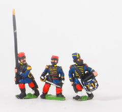 KO68 French: Guard Voltigeurs: Command: Officers Standard Bearers and Drummers in Bonnet de Police