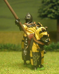 M24 Mounted Knight c.1370 in short Surcoat, Plate Armour & visored Bascinet