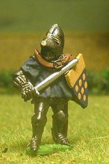 M25 Dismounted Knight c.1370 in short Surcoat, Plate Armour & visored Bascinet