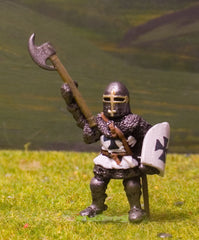 M4b Later Medieval: Dismounted Knight c.1310 in Barrel helm with arm raised