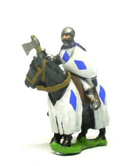 MID12 Mounted Knights, 1200-1350AD with Heater Shield & Mace or Axe and Sword in Helmets & hooded cloaks, on Barded Horse