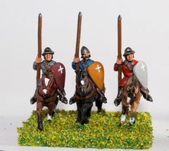 MID18 Mounted Sergeants in Conical Helms and Cloth Tunic, with Kite Shield & Lance on Unarmoured Horse