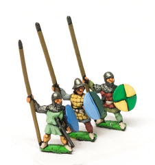 MID36 Heavy Infantry in assorted helms with Long Spear & Round Shield