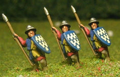 MID40 Light / Medium Spearmen with Large Shield & kettle helms