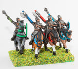 MID4A Mounted Knights, 1150-1200AD with Kite Shield, Mace or Axe, in Mail Surcoat & Conical Helms on Unarmoured Horse