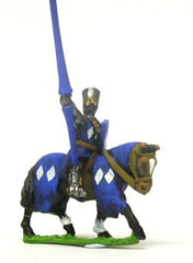 MID5 Mounted Knights, 1150-1200AD with Large Shield & Lance, in Flat Top Helm & Mail Surcoat, on Barded Horse