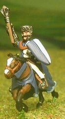 MID6 Mounted Knights, 1150-1200AD with Large Shield & Mace, Axe or Sword, in Mail Coif over Flat Top Helm on Unarmoured Horse