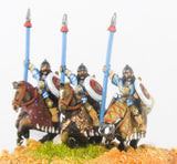 MOG4 Moghul Indian: Heavy / Medium Cavalry with Bow, Shield & upright Spear, on Barded Horse