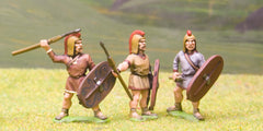 MP110 Spanish: Spearman, Large Shield, combed headdress, mixed poses (Scutarii)