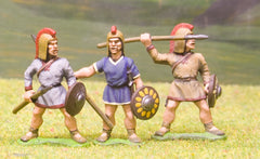 MP110a Spanish: Spearman, Small Round Shield, combed headdress, mixed poses (Caetrati)