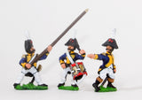 NSS12 Early Spanish Infantry: Command: Line Officer, Standard Bearer and Drummer, advancing
