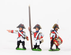 NSS13 Early Spanish Infantry: Command: Line Officer, Standard Bearer and Drummer, halted
