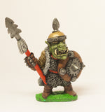 Q32 Orc: Leader in spiked helm, spear & shield