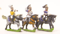 PN26 French: Cavalry: Command: Cuirassier Officer, Standard Bearer & Trumpeter