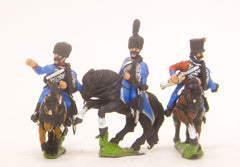 PN29 French: Cavalry: Command: Hussar Officer, Standard Bearer & Trumpeter