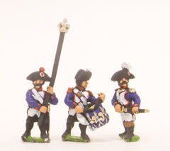 PN62 French: Line Infantry 1793-1806: Command: Officer, Standard Bearer & Drummer in Bicorne, advancing