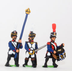 PN69 French: Command: Officer, Standard Bearer & Drummer in Shako, advancing