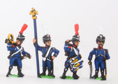 PN83 French: Light Infantry (Leger): Command: Officer, Standard Bearer, Drummer & Hornblower in Shako