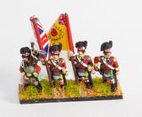 PNB10 British 1814-15: Command: Highlander Officers & Standard Bearers in trews, Piper & Drummer in kilts