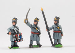 PNB5 British 1814-15: Command: Officers, Standard Bearers & Drummers in Greatcoat