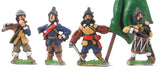 REN20b ECW: Command: Officers, Standard Bearers with cast metal flags & Drummer in Helmets, plus Fifer in Hat