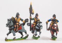REN55 ECW: Command: Mounted Officer, Standard Bearer & Trumpeter in Pot Helm