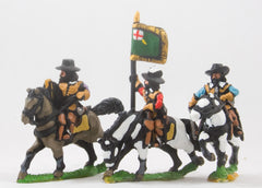 REN56 ECW: Command: Mounted Officer, Standard Bearer & Trumpeter in Hats