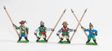 RENX1 ECW: Command: Standard Bearers with flagpole only (no cast metal flags), in assorted hats and helmets