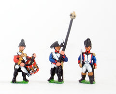 RVY7 French Revolutionary Wars: Command: Officer, Standard Bearer & Drummer in Tarliton