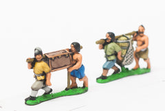 SAM00 Samurai: 2 pairs of peasants sharing loads on a pole