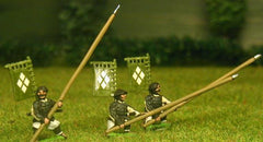 SAM22 Samurai: Ashigaru in assorted headgear with Yari & back banner