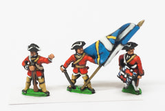 SYF30 Seven Years War French in Canada: Command: Officer, Standard Bearer & Drummer, in Summer dress