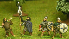SXA2 Saxon: Command: Two Standard Bearers, three Chieftains, one Hornist on foot