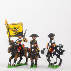 SYA18 Seven Years War Austrian: Command: Cuirassier Officer, Standard Bearer & Trumpeter