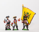 SYA2 Seven Years War Austrian: Command: German Fusilier Officer, Standar Bearer & Drummer