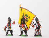 SYA4 Seven Years War Austrian: Command: German Grenadier Officer, Standard Bearer & Drummer