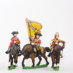 SYBR11 Seven Years War British: Command: Dragoon Officer, Standard Bearer & Drummer