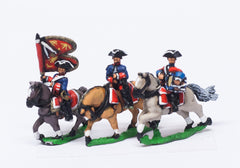 SYF13 Seven Years War French: Command: Dragoon Officer, Standard Bearer & Drummer