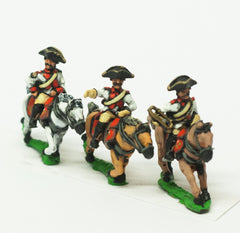 SYF35 Seven Years War French: Heavy Cavalry Officer, Standard Bearer & Trumpeter