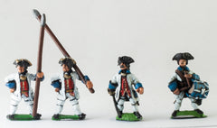 SYF3c Seven Years War French: Command: Fusilier Officer, Drummer & Standard Bearer with bare flagpole only (no flag)