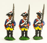 SYP2a Seven Years War Prussian: Musketeer at attention, variants.