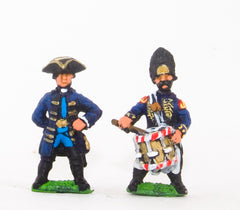 SYP33 Seven Years War Prussian: Command: Officers & Drummers (schony)